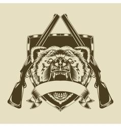 angry bear head vector image