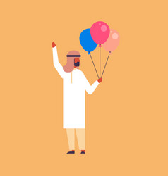 arabic businessman holding balloons celebrating vector image