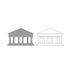bank building the grey set icon vector image