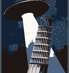 Banner with a flying ufo over leaning tower vector