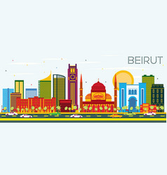 Beirut lebanon skyline with color buildings and vector