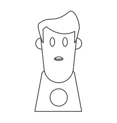 boy cartoon profile in black and white vector image