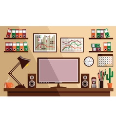 Business workplace with office things equipment vector image