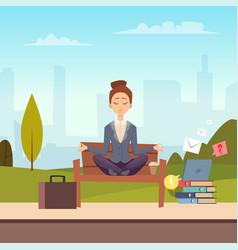 businesswoman meditation in city park vector image
