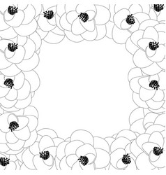 Camellia flower outline border vector