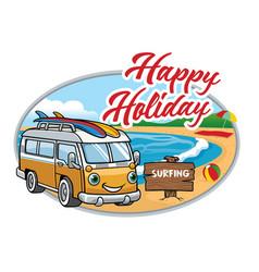 cartoon of vintage van at the beach vector image