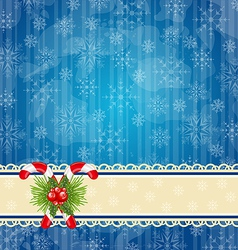 Christmas vintage wallpaper with sweet cane vector image