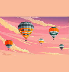 clouds and striped hot air balloons against vector image