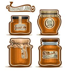 Coconut jam in glass jars vector