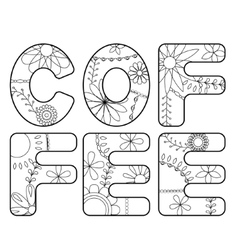 Coffee word coloring vector image