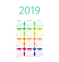 colorful 2019 calendar with multicolored patterns vector image