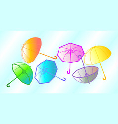 Colorful umbrellas in the sky vector