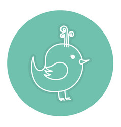 Cute bird drawing icon vector
