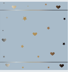 Cute frame with stars and hearts in gold on blue vector