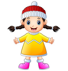 cute little girl in winter clothes waving vector image