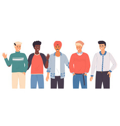 different races nationalities guys men vector image