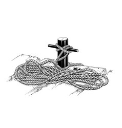 Drawing mooring rope in black color vector