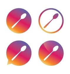 Eat sign icon Cutlery symbol Diagonal teaspoon vector image