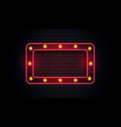 Empty classic neon sign frame vector