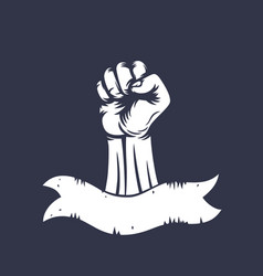 fist raised in protest vintage style vector image