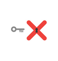 flat design style concept of key with solution vector image