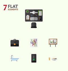 Flat icon life set of bureau lunch router and vector