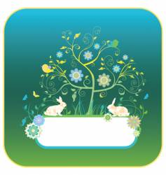 floral background with rabbits vector image vector image