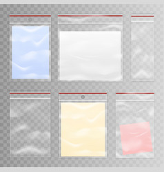 Full and empty transparent plastic bag set vector