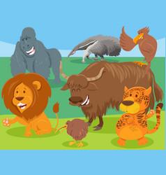 Funny cartoon wild animal characters group vector