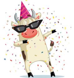Funny party ox dabbing cartoon vector