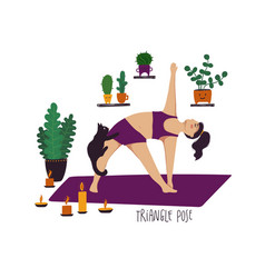 Girl doing triangle yoga pose with cat vector