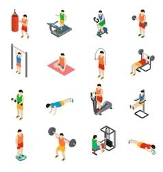 Gym icons set vector
