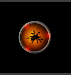 halloween logo black 3d spider on an orange vector image