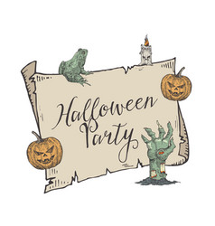 halloween party banner template hand drawn vector image