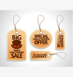 halloween sale concept design tags set orange vector image