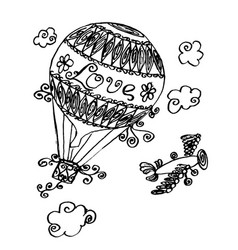 hand drawn sketch of air balloon vector image