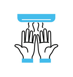 hands drying in hand dryer half line half vector image