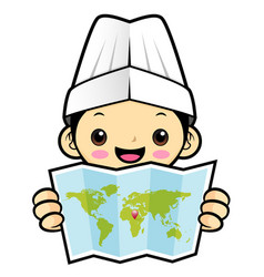 Happy chef character is holding a world map vector