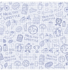 Healthy lifestyle pattern on the notebook sheet vector image