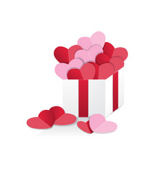 hearts in gift box vector image