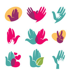 human hands symbols of helping hand heart vector image