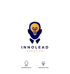human head bulb lamp idea think logo icon vector image