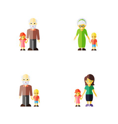 Icon flat people set of grandson grandpa grandma vector
