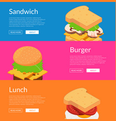isometric burger with ingredients banner vector image