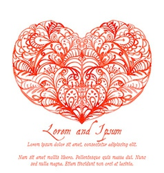 Lacy red watercolor heart vector