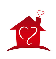 Loving home with heart silhouettes icon vector
