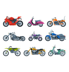 modern and retro motorcycles collection motor vector image