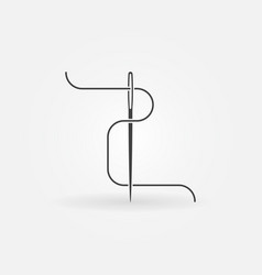 Needle and thread icon or symbol vector