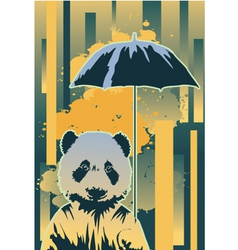 Panda in rain vector image