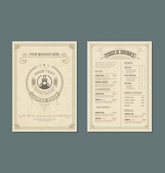 retro template for restaurant menu design vector image
